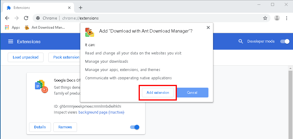 The manual installation of Ant Download Manager (Download with Ant Download Manager) extension to Chrome. Step #3.