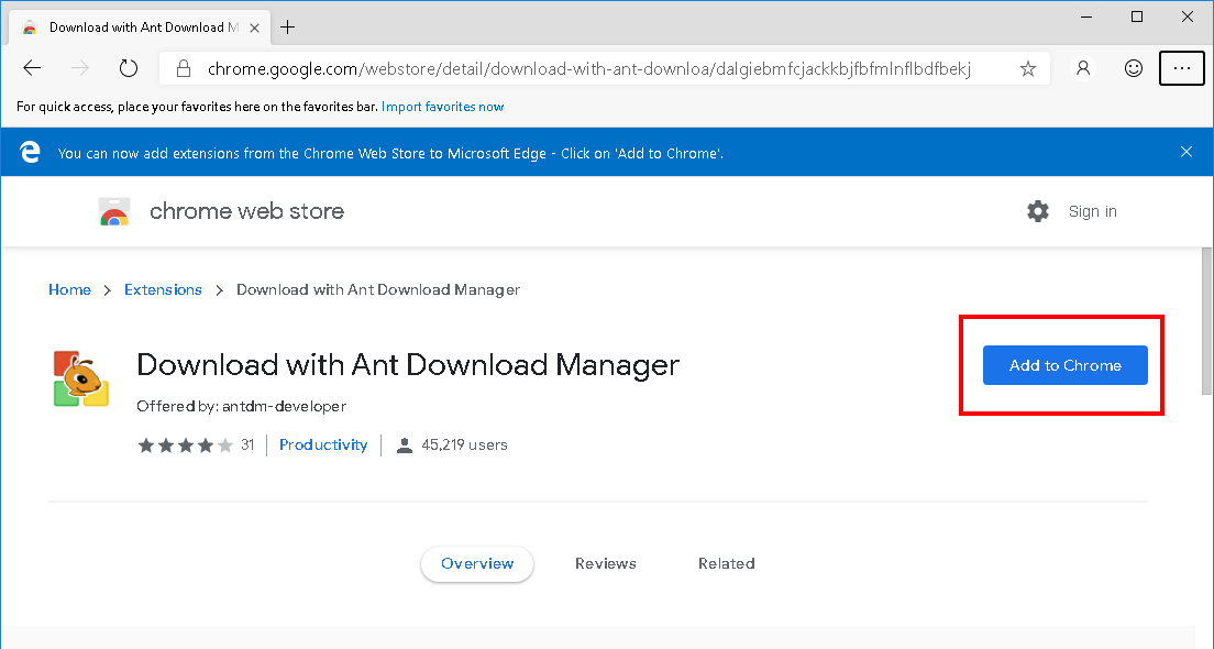 How to install Ant Download Manager (AntDM) addon to Microsoft EDGE Browser. Step #3.