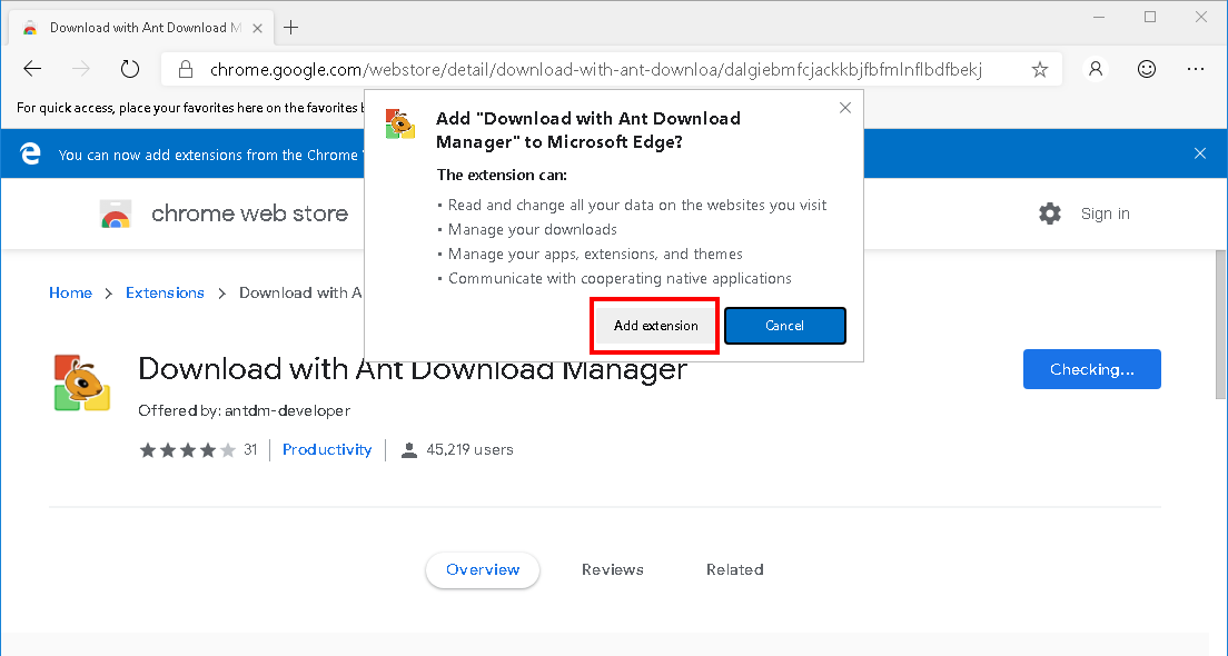 How to install Ant Download Manager (AntDM) addon to Microsoft EDGE Browser. Step #4.
