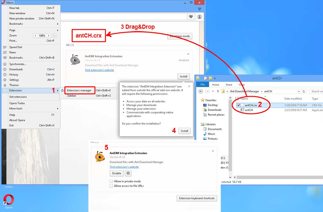 How to install Ant Download Manager (Download with Ant Download Manager) extension to Opera.