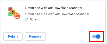 How to enable Ant Download Manager extension for Chrome browser.