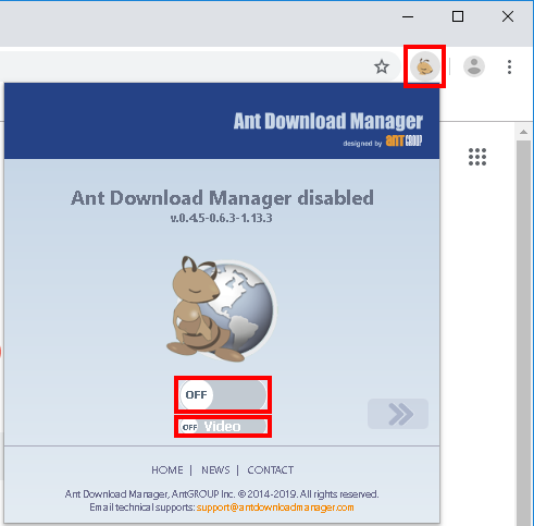How to reduce the intrusiveness of Ant Download Manager extension. How to disable AntDM extendion.