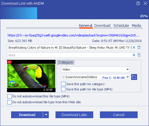 Ant Download Manager (AntDM) main screen